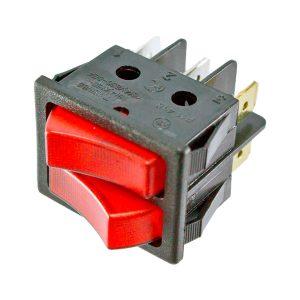 Interruptor duplo com sinalizador Vermelho 230V