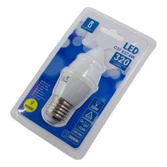 Lâmpada Led  Branco Quente E27 de 230V 4W
